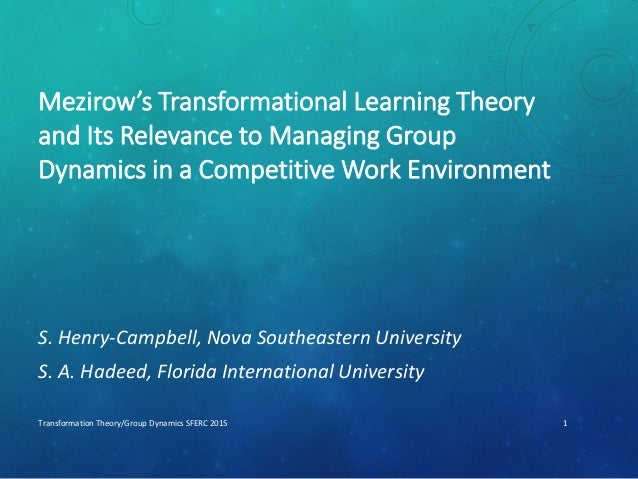 Mezirow's Transformational Learning Theory and Its Relevance to Managing Group Dynamics in a Competitive Work Environment ...