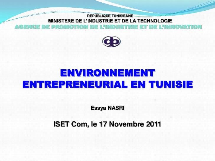 REPUBLIQUE TUNISIENNE         MINISTERE DE L'INDUSTRIE ET DE LA TECHNOLOGIEAGENCE DE PROMOTION DE L'INDUSTRIE ET DE L'INNO...