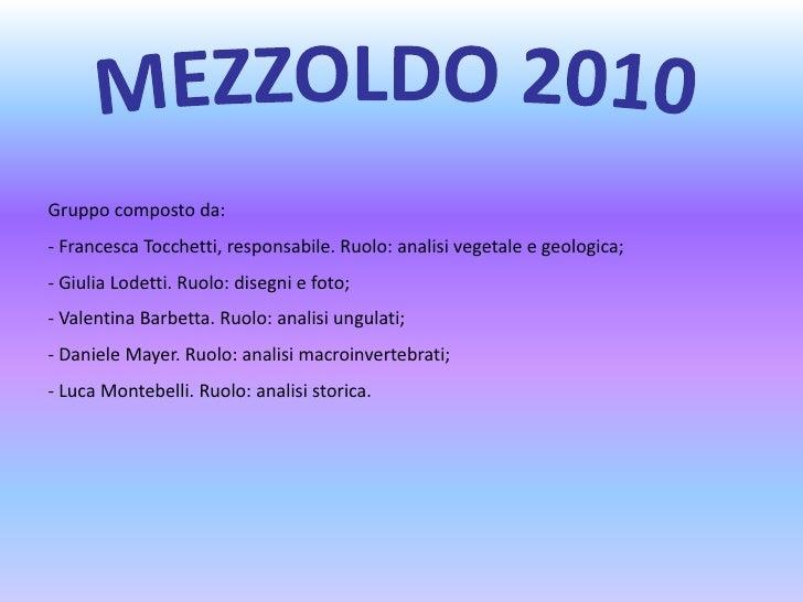 MEZZOLDO 2010<br />Gruppo composto da:<br /><ul><li> Francesca Tocchetti, responsabile. Ruolo: analisi vegetale e geologica;