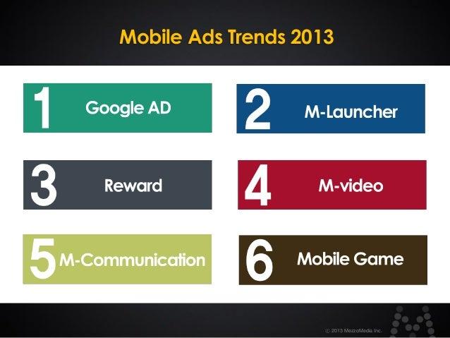 Mobile Ads Trends 2013  ⓒ 2013 MezzoMedia Inc.