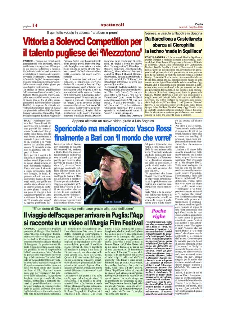 Mezzotono puglia 4 luglio 2008 articolo di gianluca doronzo