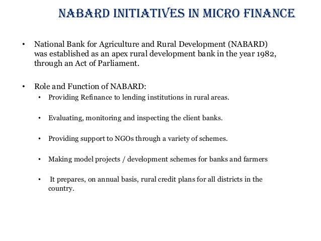 The role of micro finance bank in agricultural development in nigeria