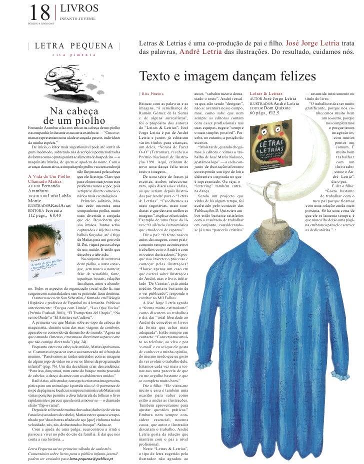 18 PÚBLICO 4 JUNHO 2005                        LIVROS                        INFANTO-JUVENIL     | LETRA PEQUENA |        ...