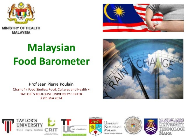1 Malaysian Food Barometer Prof Jean Pierre Poulain Chair of « Food Studies: Food, Cultures and Health » TAYLOR'S TOULOUSE...