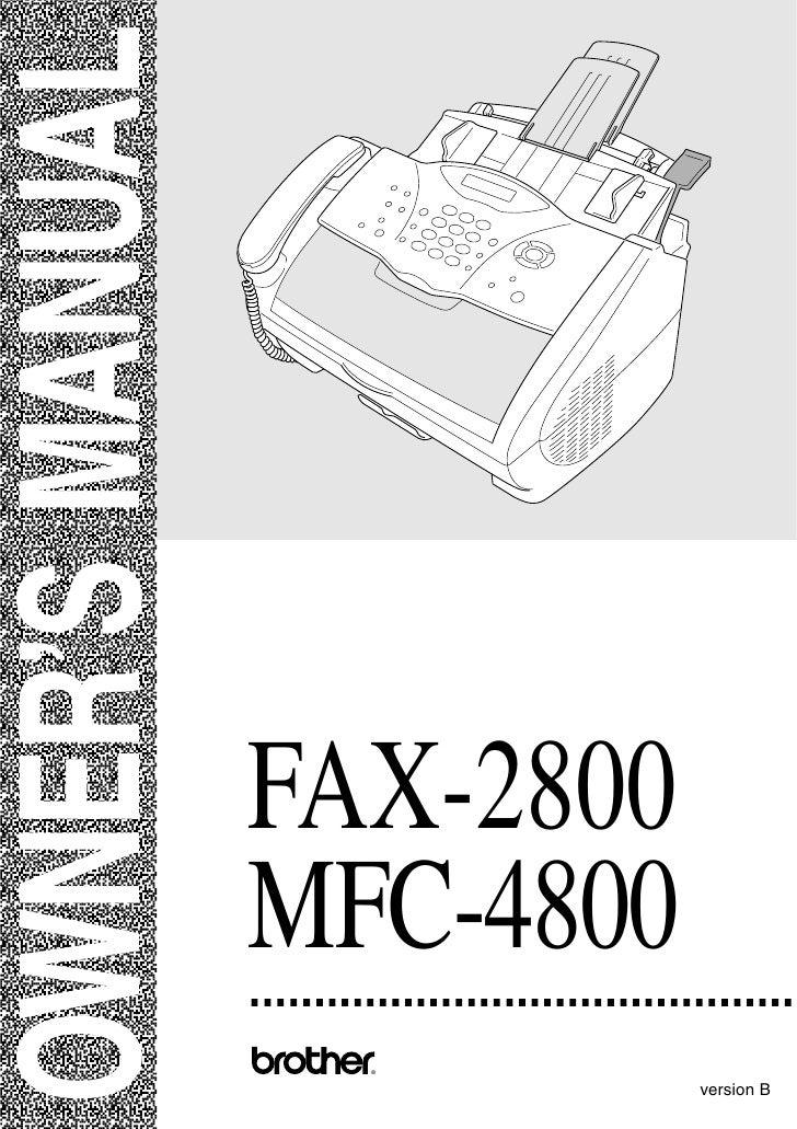 OWNER'S MANUAL                     FAX-2800                  MFC-4800                    ®                               v...