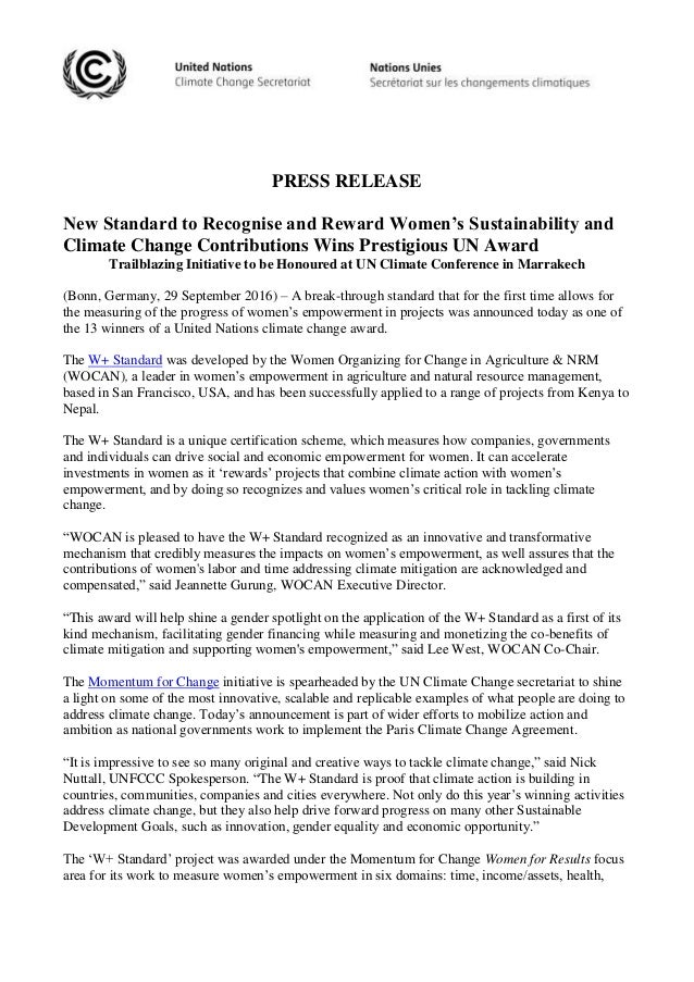 PRESS RELEASE New Standard to Recognise and Reward Women's Sustainability and Climate Change Contributions Wins Prestigiou...