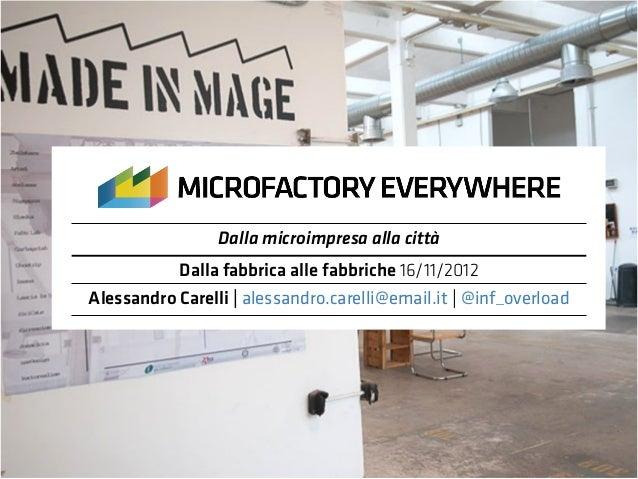Dalla microimpresa alla città            Dalla fabbrica alle fabbriche 16/11/2012Alessandro Carelli | alessandro.carelli@e...