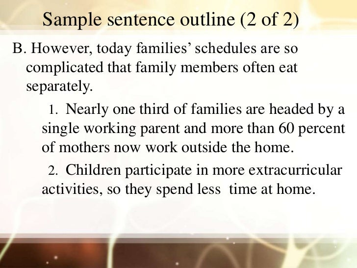 example sentence outline outline An outline presents ideas and material in a logical format that shows  relationships and  outline headings may follow either topic or sentence  structure.