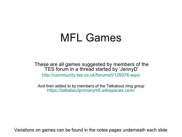 Ideas for MFL Games by runaway | Teaching Resources