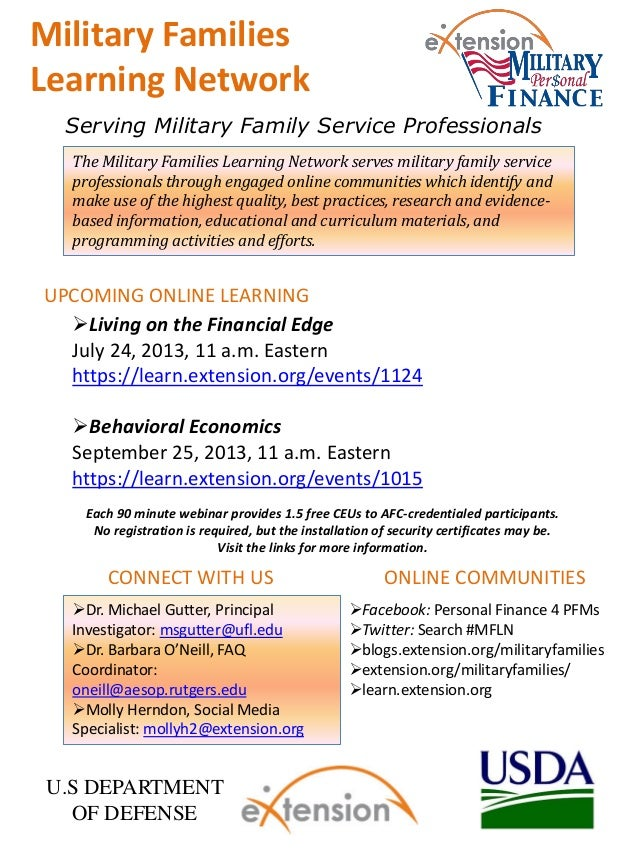 The Military Families Learning Network serves military family service professionals through engaged online communities whi...