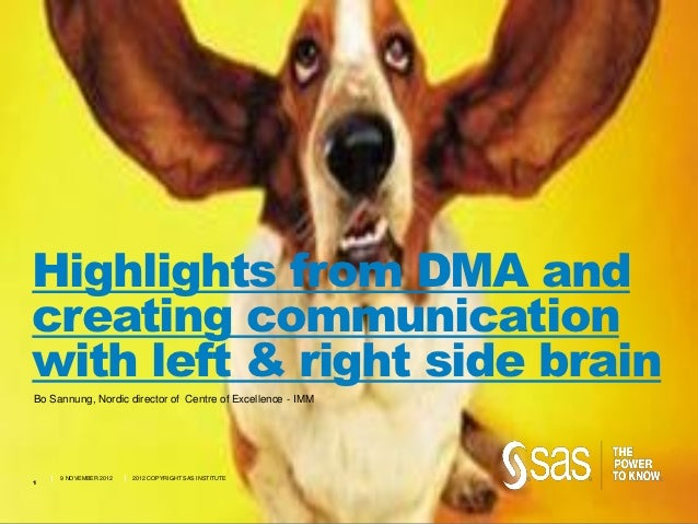 Highlights from DMA andcreating communicationwith left & right side brainBo Sannung, Nordic director of Centre of Excellen...