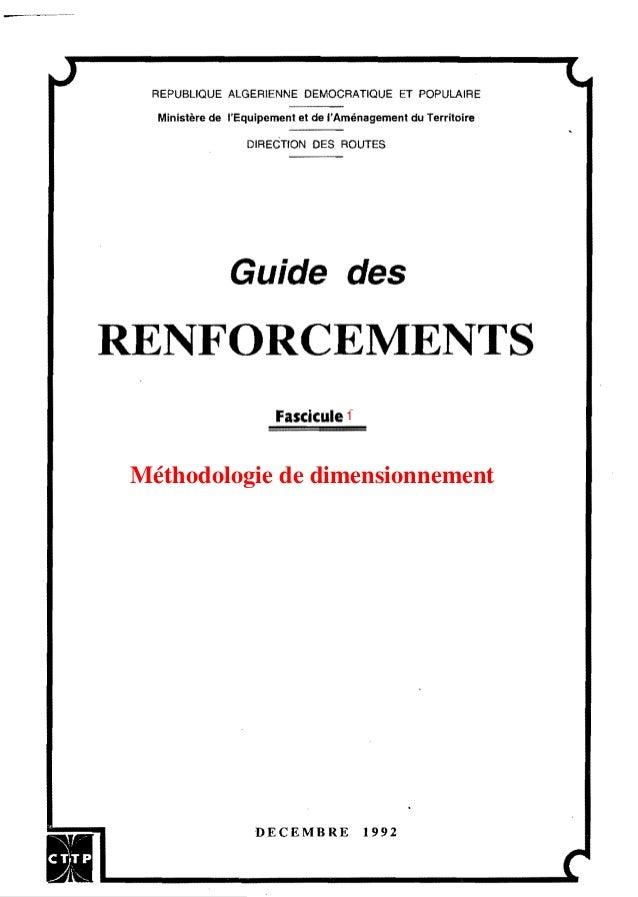 REPUBLIQUE ALGERIENNE DEMOCRATIQUE ET POPULAIRE Ministère de l'Equipement et de l'Aménagement du Territoire DIREéTION DES ...