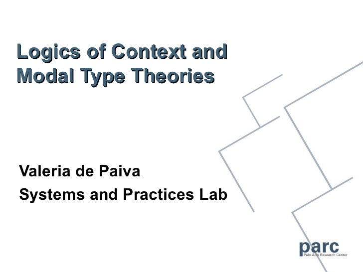 Logics of Context andModal Type TheoriesValeria de PaivaSystems and Practices Lab