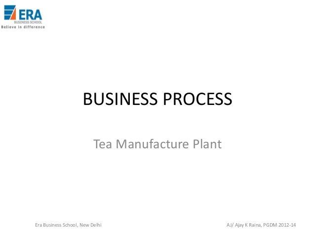 BUSINESS PROCESS Tea Manufacture Plant  Era Business School, New Delhi  AJ/ Ajay K Raina, PGDM 2012-14