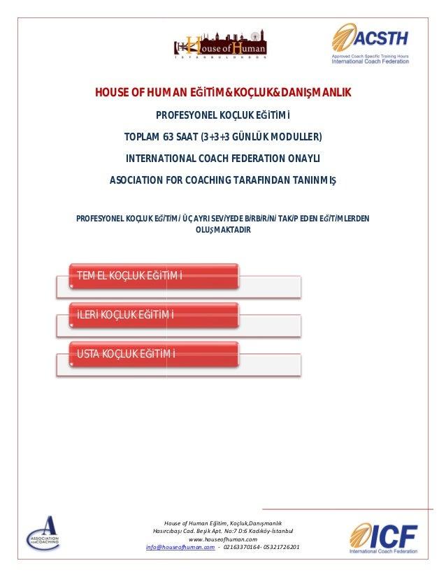 HOUSE OF HUMAN EĞİTİM&KOÇLUK&DANIŞMANLIK PROFESYONEL KOÇLUK EĞİTİMİ TOPLAM 63 SAAT (3+3+3 GÜNLÜK MODULLER) INTERNATIONAL C...