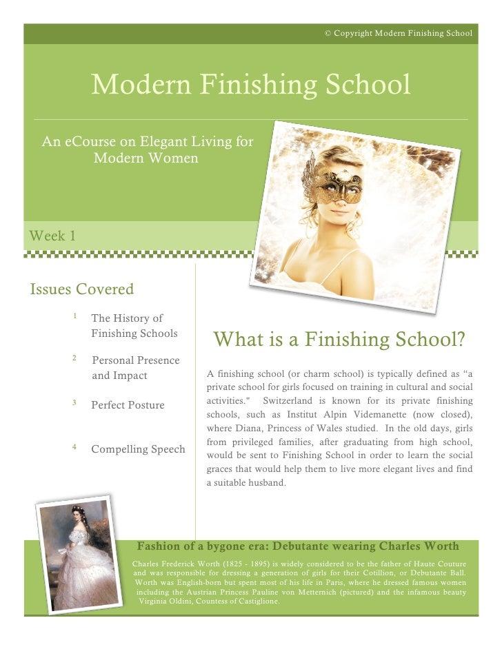 © Copyright Modern Finishing School              Modern Finishing School  An eCourse on Elegant Living for        Modern W...