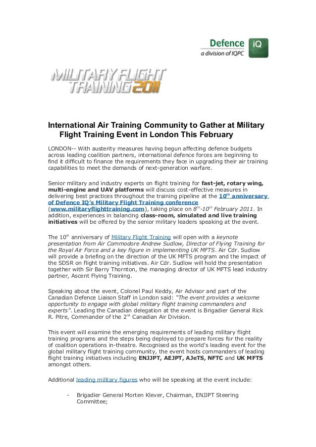 International Air Training Community to Gather at Military Flight Training Event in London This February LONDON-- With aus...