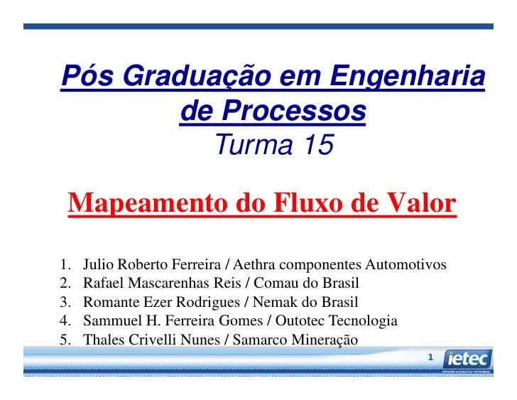 Pós Graduação em Engenharia        de Processos          Turma 15 Mapeamento do Fluxo de Valor1.   Julio Roberto Ferreira ...