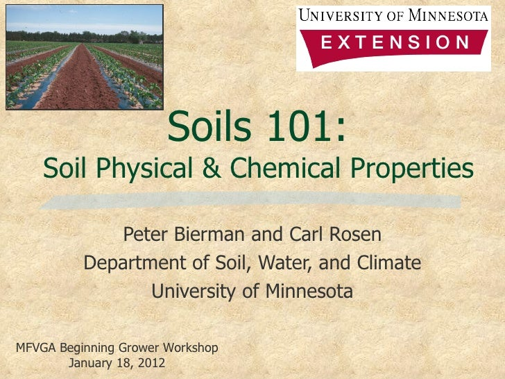 Soils 101:    Soil Physical & Chemical Properties             Peter Bierman and Carl Rosen          Department of Soil, Wa...