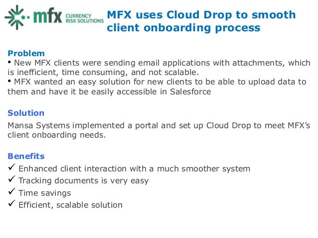MFX uses Cloud Drop to smooth                        client onboarding processProblem• New MFX clients were sending email ...