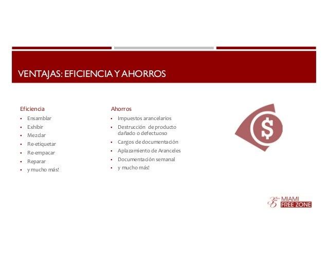 VENTAJAS: EFICIENCIA Y AHORROS  Eficiencia Ahorros   Ensamblar   Exhibir   Mezclar   Re‐etiquetar   Re‐empacar   Rep...