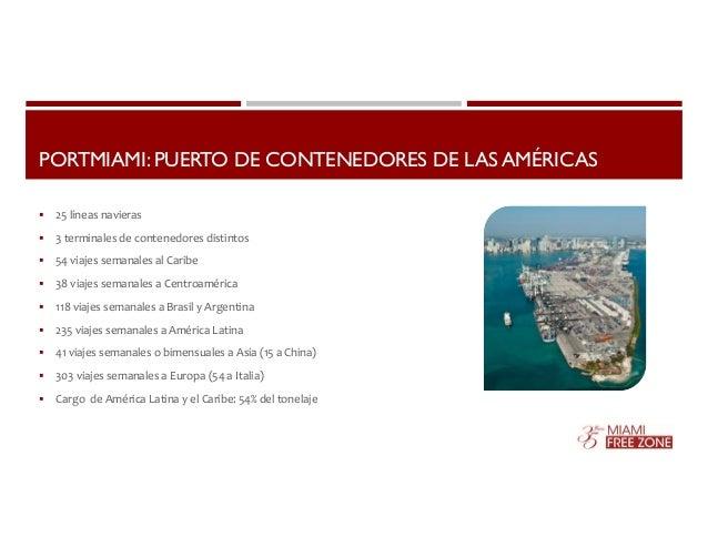 PORTMIAMI: PUERTO DE CONTENEDORES DE LAS AMÉRICAS   25 líneas navieras   3 terminales de contenedores distintos   54 vi...