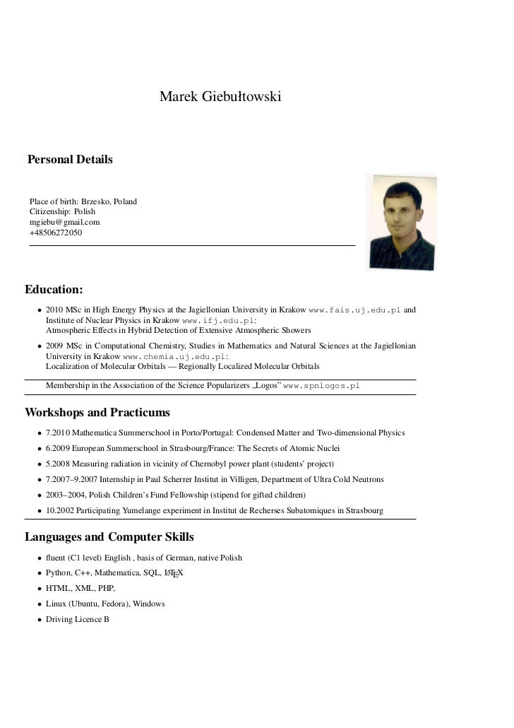 Marek GiebułtowskiPersonal DetailsPlace of birth: Brzesko, PolandCitizenship: Polishmgiebu@gmail.com+48506272050Education:...