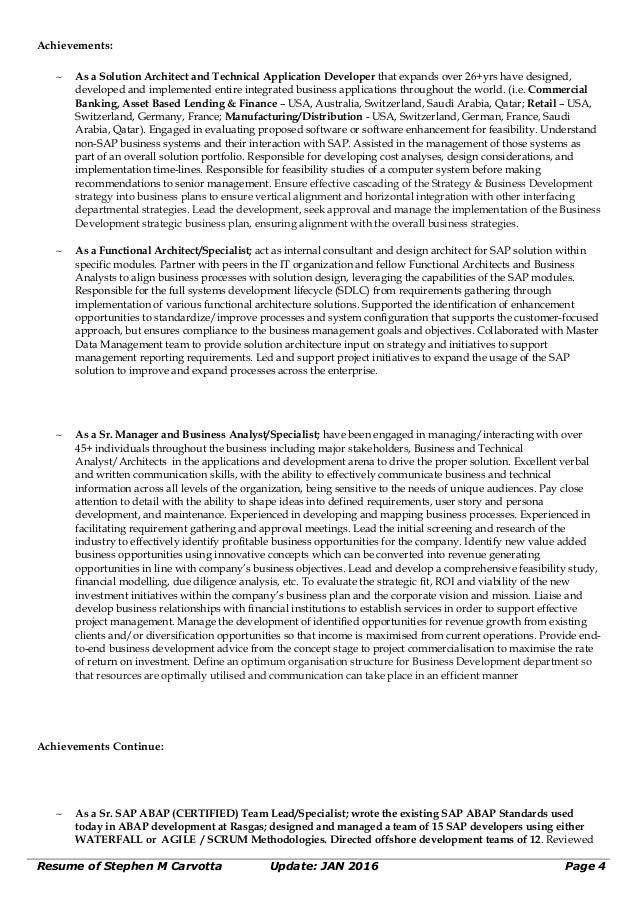 sap architect resume