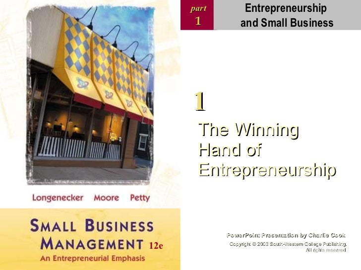 The Winning Hand of Entrepreneurship part 1 PowerPoint Presentation by Charlie Cook Copyright  ©  2003 South-Western Colle...