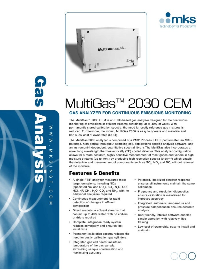 Gas Analysis                   MultiGas™ 2030 CEM                   Gas Analyzer for Continuous Emissions Monitoring      ...