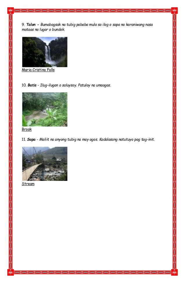 9. Talon - Bumabagsak na tubig pababa mula sa ilog o sapa na karaniwang nasa mataas na lugar o bundok. Maria Cristina Fall...