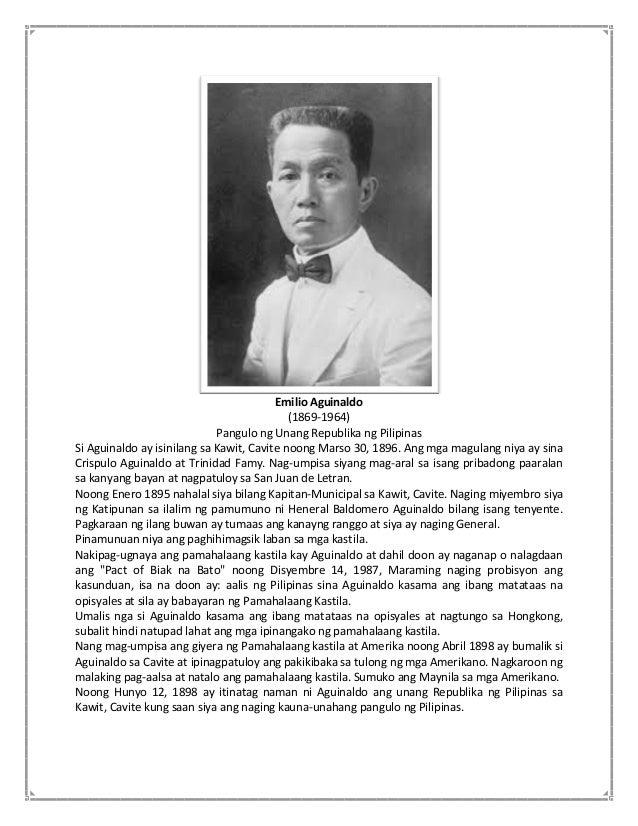 Emilio aguinaldo tagalog talambuhay ni Talambuhay ni
