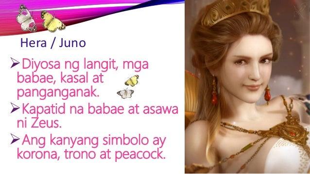 Hera / Juno Diyosa ng langit, mga babae, kasal at panganganak. Kapatid na babae at asawa ni Zeus. Ang kanyang simbolo a...