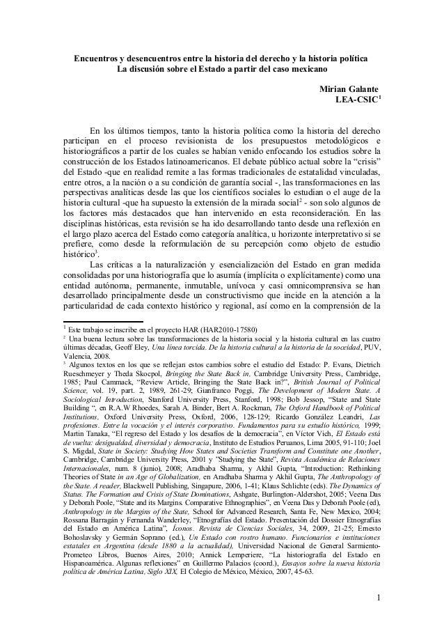 Encuentros y desencuentros entre la historia del derecho y la historia política La discusión sobre el Estado a partir del ...