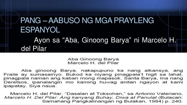 reaction aba ginoong barya Events and reflection of the author who happens to be a roman catholic priest of the latin rite in the diocese of san pablo, philippines.
