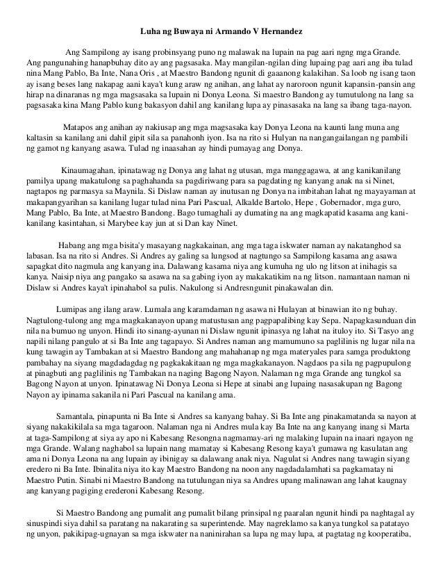 summary of luha ng buwaya A book review in literature 3 (luha ng buwaya) amado vera hernandez 1469  words mar 18th, 2009 6 pages  characters donya leona - a.