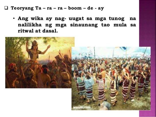 mga teorya ng wika Anong teoryang pangwika ang maaari nating gamitin para ipaliwanag ang  kasalukuyang hubog, anyo at takbo ng wikang filipino paano ito.