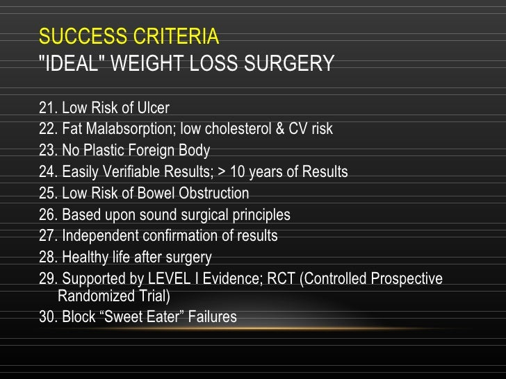 """SUCCESS CRITERIA """"IDEAL"""" WEIGHT LOSS SURGERY 21. Low Risk of Ulcer 22. Fat Malabsorption; low cholesterol & CV r..."""