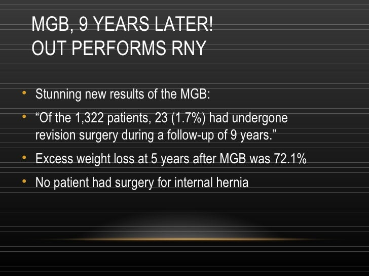 """MGB, 9 YEARS LATER!  OUT PERFORMS RNY <ul><li>Stunning new results of the MGB:  </li></ul><ul><li>"""" Of the 1,322 patients,..."""