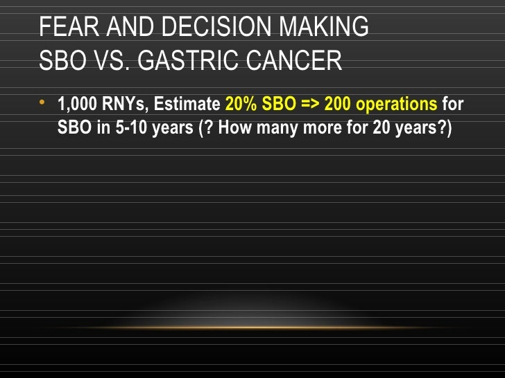 FEAR AND DECISION MAKING SBO VS. GASTRIC CANCER <ul><li>1,000 RNYs, Estimate  20% SBO => 200 operations  for SBO in 5-10 y...