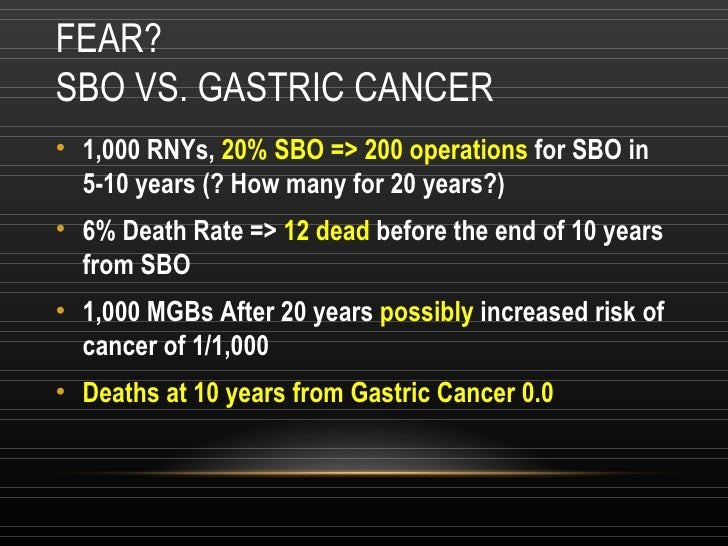FEAR? SBO VS. GASTRIC CANCER <ul><li>1,000 RNYs,  20% SBO => 200 operations  for SBO in 5-10 years (? How many for 20 year...