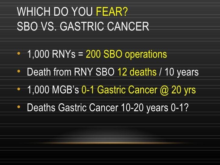WHICH DO YOU  FEAR? SBO VS. GASTRIC CANCER <ul><li>1,000 RNYs =  200 SBO operations </li></ul><ul><li>Death from RNY SBO  ...
