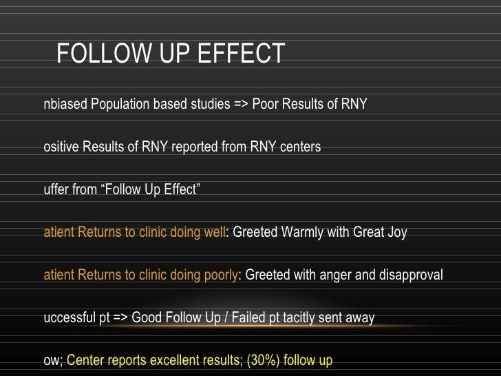 FOLLOW UP EFFECT <ul><li>Unbiased Population based studies => Poor Results of RNY </li></ul><ul><li>Positive Results of RN...