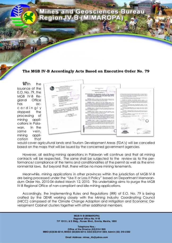 The MGB IV-B Accordingly Acts Based on Executive Order No. 79   With      theissuance of theE.O. No. 79, theMGB IV-B Re-gi...