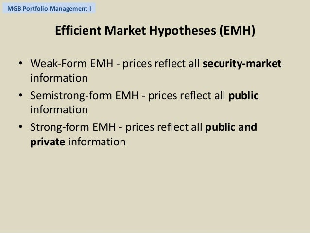 a description of according to the efficient market theory The efficient market hypothesis  the efficient market concept engrained in the industry which is more or less remunerated according to the quantity of.