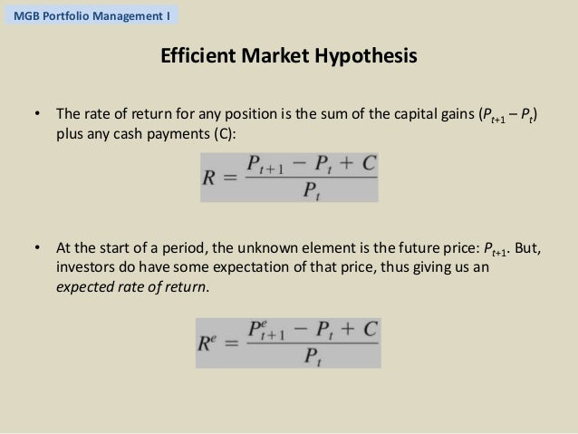 The Efficient Market Hypothesis 1 Testing The Efficient Market Hypothesis  Outline: U2022 Definition And Rationale