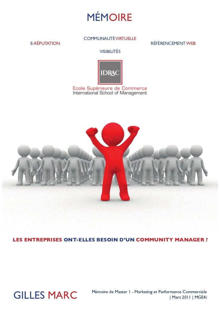 MÉMOIRE                    COMMUNAUTÉ VIRTUELLE     E-RÉPUTATION                                    RÉFÉRENCEMENT WEB     ...