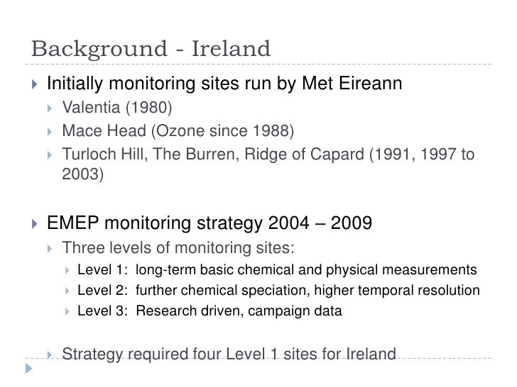 Ireland's Transboundary Monitoring Network and EMEP Strategy