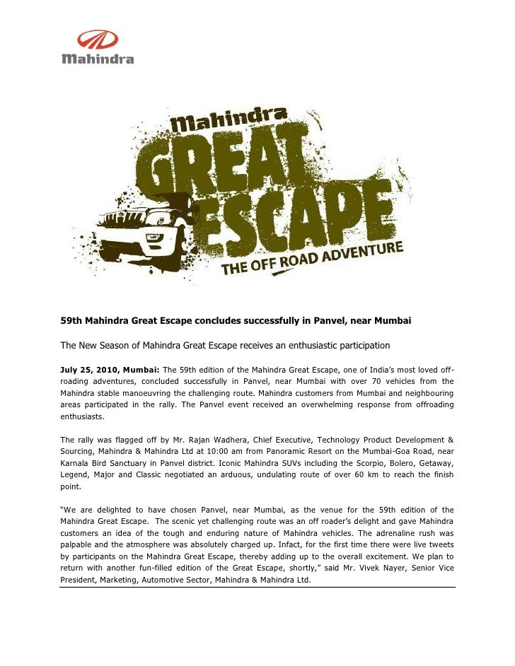 59th Mahindra Great Escape concludes successfully in Panvel, near Mumbai  The New Season of Mahindra Great Escape receives...