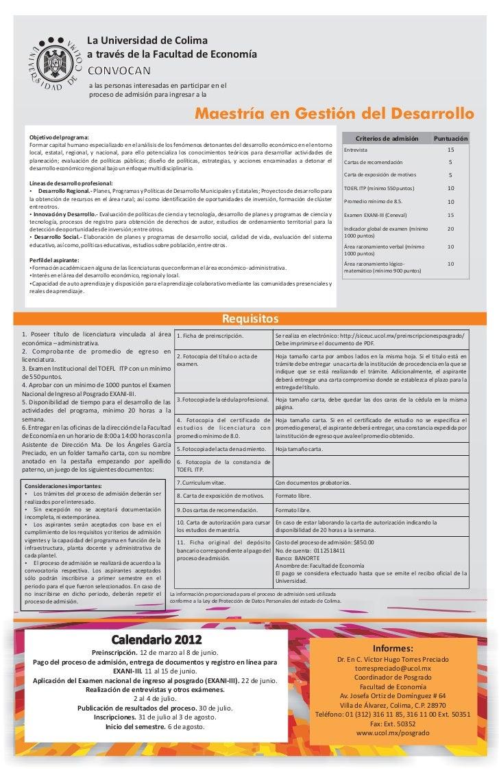La Universidad de Colima                            a través de la Facultad de Economía                            CONVOCA...